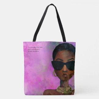 Bolsa Tote Arte preta cor-de-rosa e verde feita sob encomenda