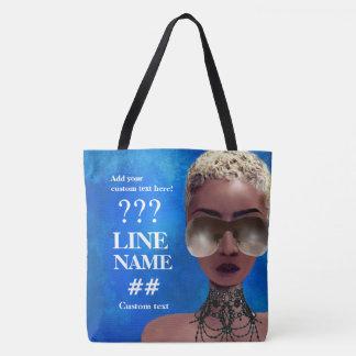 Bolsa Tote Arte preta do círculo estudantil feminino azul