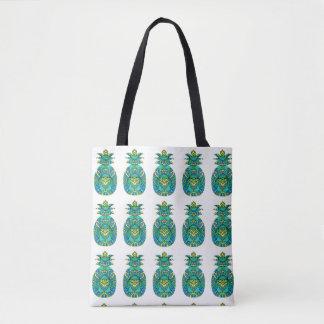 "Bolsa Tote Artisan_Wear - ""abacaxi"" na turquesa"
