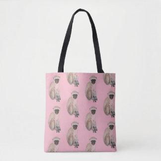 """Bolsa Tote Artisan_Wear - """"macaco"""" no rosa"""