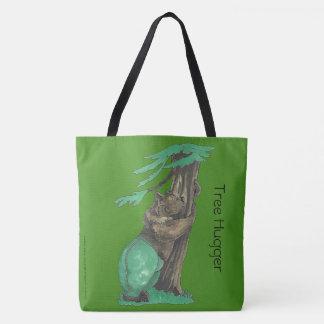 Bolsa Tote Árvore bonito que abraça o urso que veste