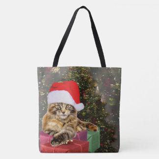 Bolsa Tote Árvore de Natal do papai noel & dos presentes do