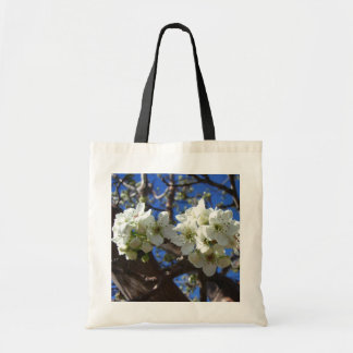 Bolsa Tote Árvore de pera de florescência do primavera branco