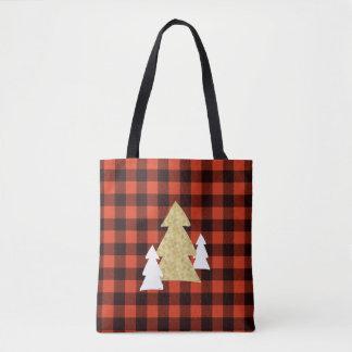 Bolsa Tote Árvores de Natal na sacola vermelha da xadrez