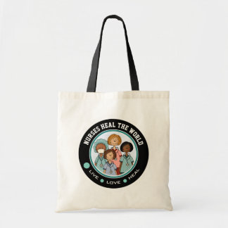 Bolsa Tote As enfermeiras curam o mundo. Sacolas da