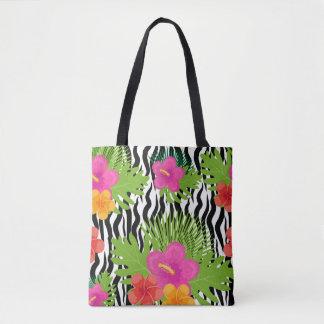 Bolsa Tote As flores e a pele tropicais são animais. Verão