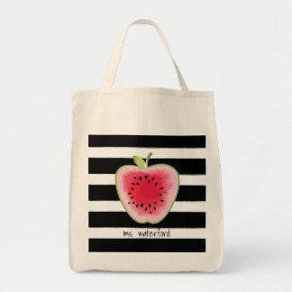 Bolsa Tote As listras de Apple da melancia personalizaram o