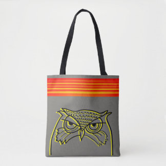 Bolsa Tote As listras de néon alaranjadas do esboço artístico