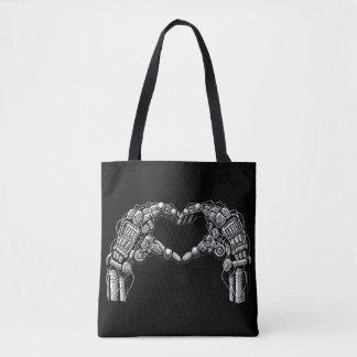 Bolsa Tote As mãos do robô fazem a forma do coração
