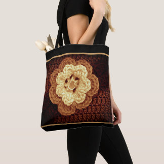 Bolsa Tote As máscaras bege de Brown Embellished o Crochet da