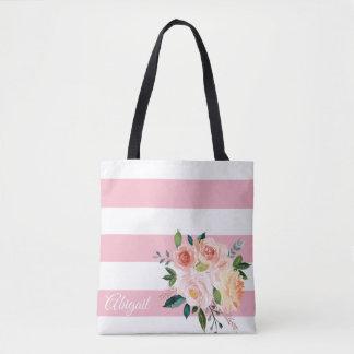 Bolsa Tote As peônias florais do primavera personalizaram a