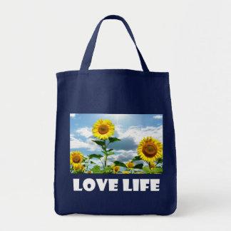 Bolsa Tote Atitude amarela da vida do girassol, citações da