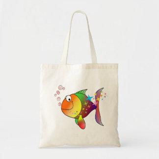 Bolsa Tote Atum do Oceano Pacífico da cor do arco-íris multi