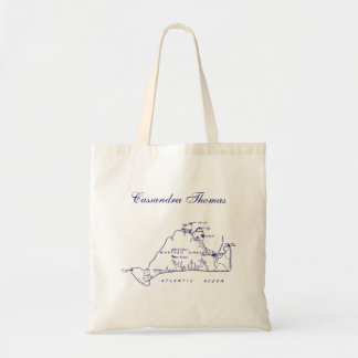 Bolsa Tote Azuis marinhos do mapa #1 do vintage do Martha's