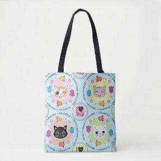 Bolsa Tote Azul bonito da sacola do gatinho dos desenhos