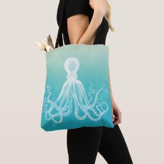 Bolsa Tote Azul branco Ombre do Aqua da aguarela do polvo do