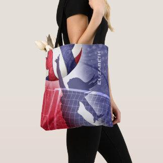 Bolsa Tote azul branco vermelho do voleibol das mulheres