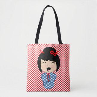 Bolsa Tote Azul da boneca de Kokeshi toda sobre - imprima a