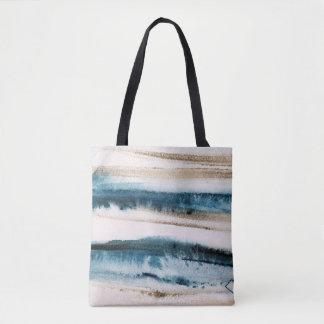 Bolsa Tote Azul da pintura e ouro escovados abstrato do falso