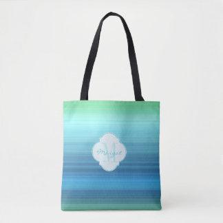 Bolsa Tote Azul do Aqua, marinho e listras verdes