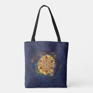 Bolsa Tote Azul do brilho da estrela e saco do ouro