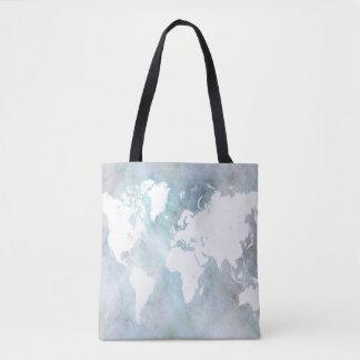 Bolsa Tote Azul do mapa do mundo do design 68