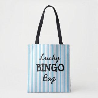 Bolsa Tote Azul do saco do BINGO da boa sorte listrado