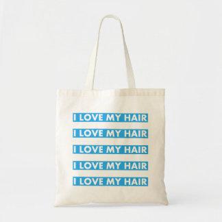 Bolsa Tote Azul eu amo meu entalhe do cabelo