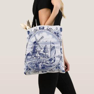 Bolsa Tote Azul holandês de Delft do veleiro do moinho de