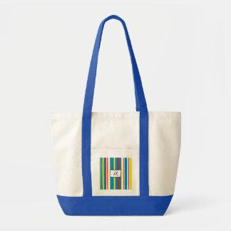 Bolsa Tote Azul, saco de Duffel Monogrammed listrado amarelo