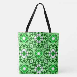 Bolsa Tote Azulejo marroquino floral, esmeralda e verde limão