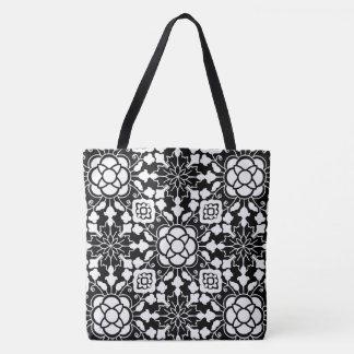 Bolsa Tote Azulejo marroquino floral, preto e branco