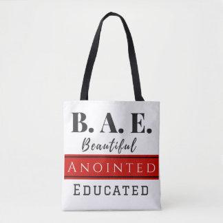 Bolsa Tote B.A.E. Sacola com correias pretas (cristão)
