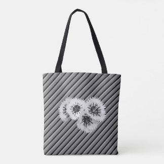Bolsa Tote B & saco listrado floral do casamento do monograma