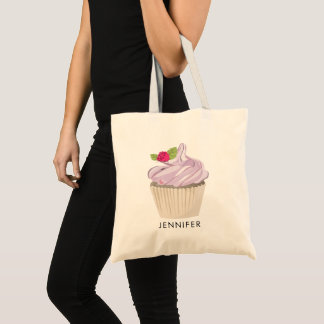 Bolsa Tote Baga cor-de-rosa deliciosa do cupcake no costume