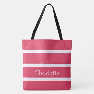 Bolsa Tote Baga fresca cor-de-rosa e listras brancas