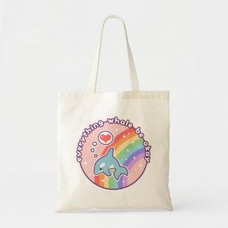 Bolsa Tote Baleia bonito do arco-íris