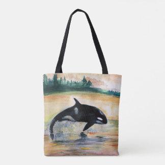 Bolsa Tote Baleia na orca selvagem do salto toda sobre -
