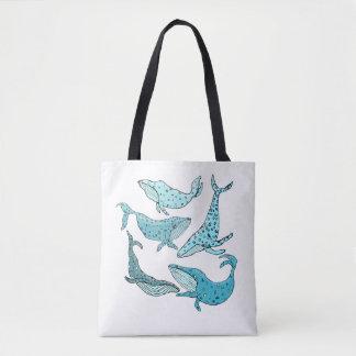 Bolsa Tote Baleias azuis