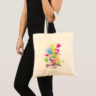 Bolsa Tote Balões do aniversário do respingo da cor