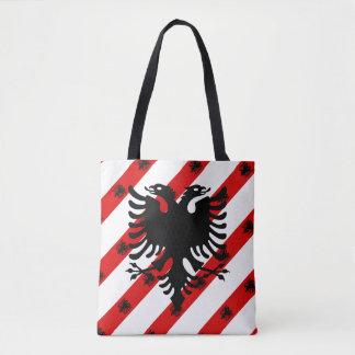 Bolsa Tote Bandeira albanesa das listras