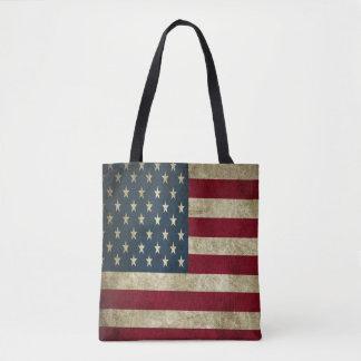 Bolsa Tote Bandeira americana do Grunge toda sobre - imprima