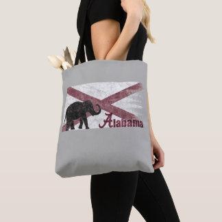 Bolsa Tote Bandeira de Alabama, elefante. Vintage retro,