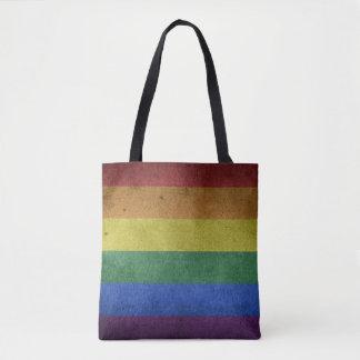 Bolsa Tote Bandeira do grunge do arco-íris