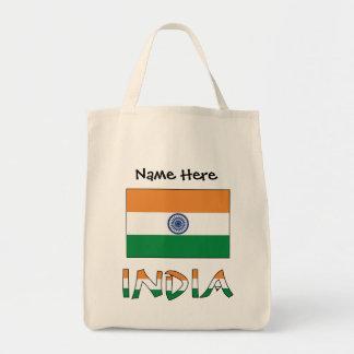 Bolsa Tote Bandeira e India indianos com nome