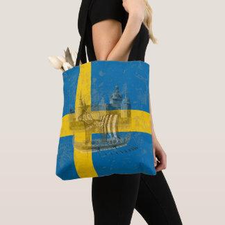 Bolsa Tote Bandeira e símbolos da suecia ID159