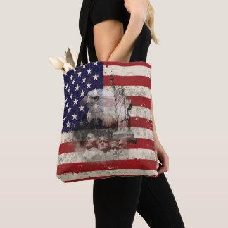 Bolsa Tote Bandeira e símbolos dos Estados Unidos ID155