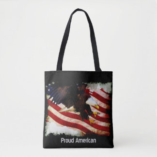 Bolsa Tote Bandeira esfarrapada & águia americana dos EUA do