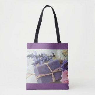 Bolsa Tote Bar da beleza da lavanda com flores