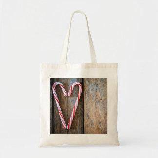 Bolsa Tote Bastões de doces do coração do feriado na madeira